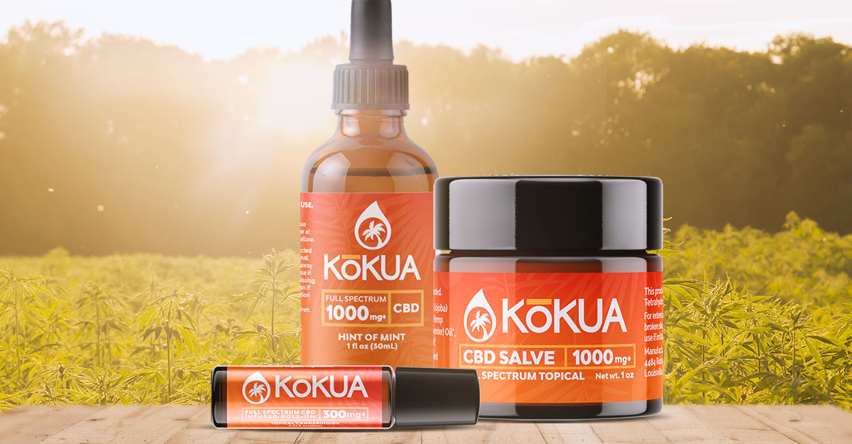 Three of Kokua's full-spectrum CBD products on a wood table in front of a field of marijuana plants. Current360 helped launch a new brand of CBD products. Our branding work included a new logo and website design.