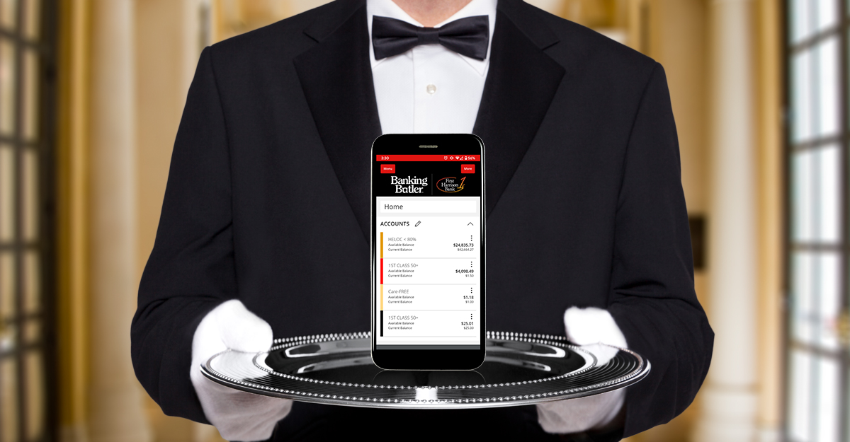 A butler in a tuxedo holding a silver tray with a smartphone. Current360 created videos and photography that were used in outdoor advertising, social media, and brand videos to promote First Harrison Bank's new digital banking service.