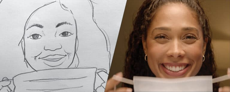 Side by side shot of a woman drinking coffee on a storyboard, then in real life during the shoot. Illustration of a truck being loaded with social media like buttons surrounding the image. This was created by Current360 to accompany our blog about shooting commercials during a pandemic.